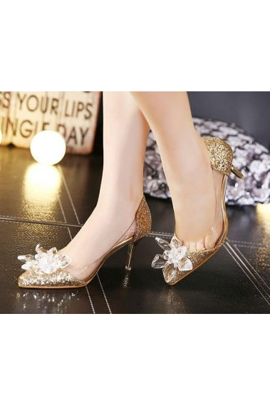Sparkling Golden Cinderella Bridal Shoes - CH077 #1