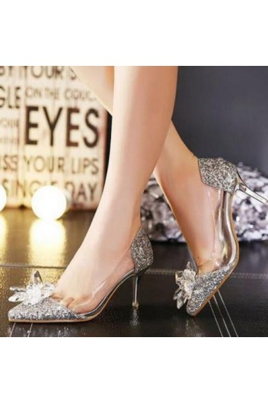 Cinderella Silver Glitter Wedding Shoes - CH078 #1