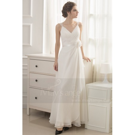 robe blanche simple pour mariage - Ref L738 - 04
