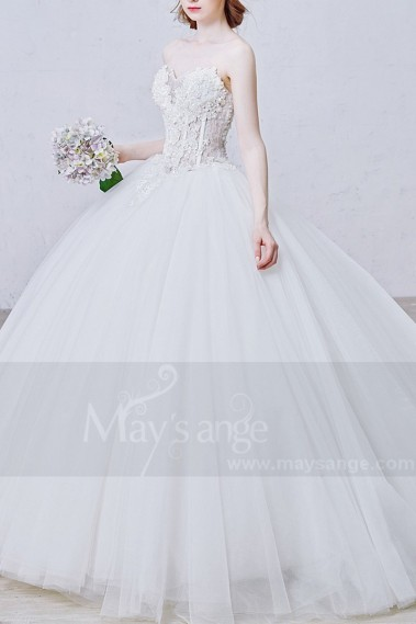 White wedding dress - Gorgeous Strapless Ball Gown Tulle Appliques Wedding Dress - M364 #1