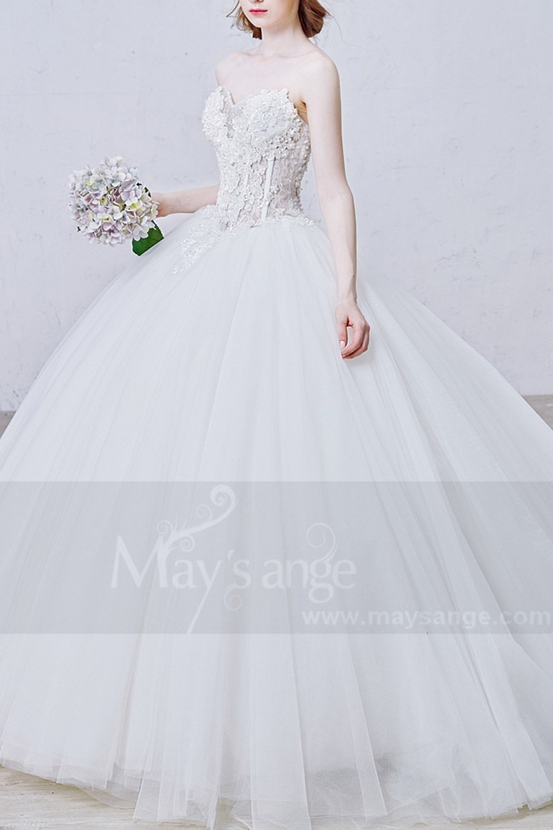 Gorgeous Strapless Ball Gown Tulle Appliques Wedding Dress - Ref M364 - 01