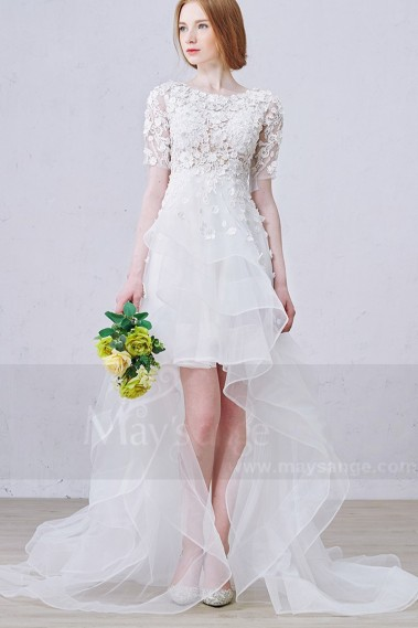 Long wedding dress - Asymmetry Half Sleeves Embroidered Organza Civil Wedding Dress - M365 #1