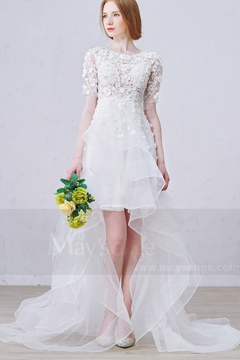 Asymmetry Half Sleeves Embroidered Organza Civil Wedding Dress - Ref M365 - 01