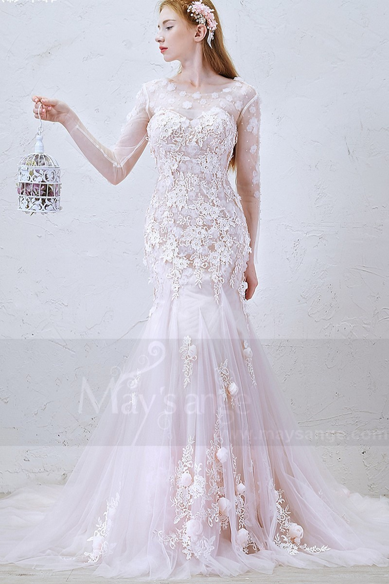 Mermaid Wedding Dress With Long Train And Sheer Long Sleeve - Ref M366 - 01