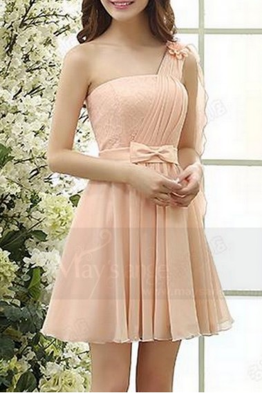 Long cocktail dress - One-Shoulder Pink Short Prom Dress - C814 #1