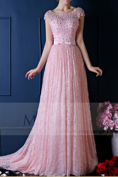 Stunning Lace Pink Bridesmaid Dresses With Beautiful Open Back And Sleeves - L766 #1
