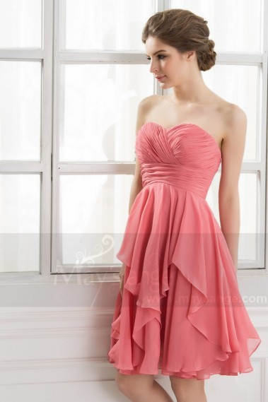 Fluid cocktail dress - Strapless pink pastel evening dress C560 - C560 #1