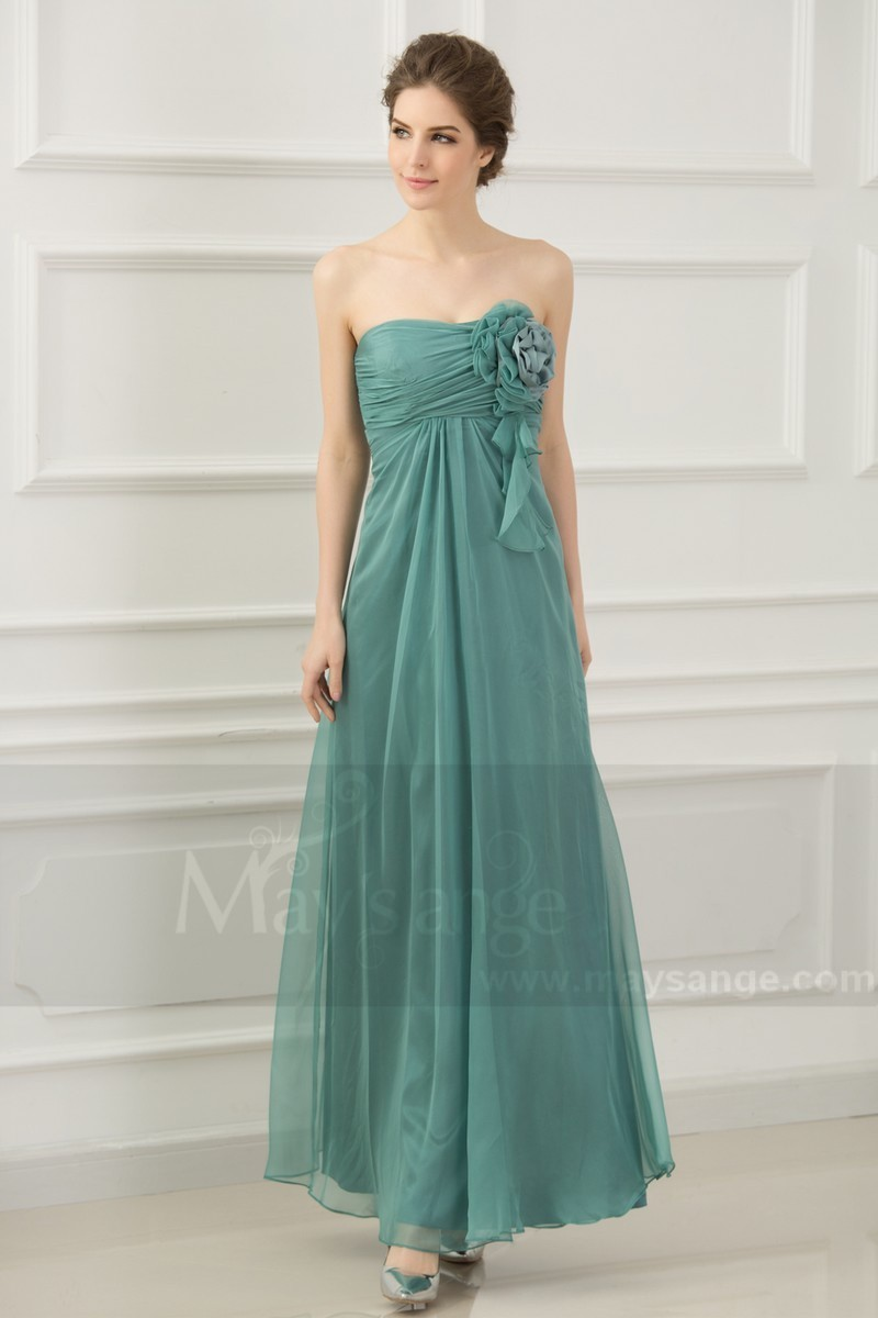Green Strapless Long Dress For Bridesmaid With Flowers - Ref L768 - 01