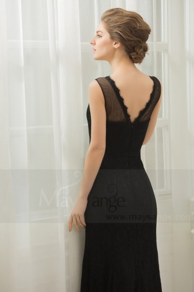 LONG BLACK LACE DRESS A SCALLOPED V-SHAPED NECKLINE - L757 #1