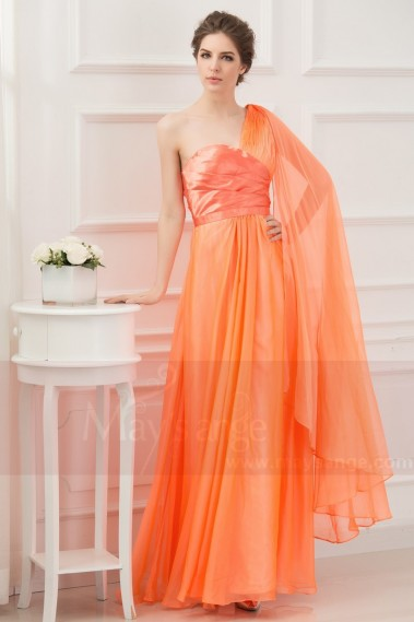 Evening Dress with straps - One Strap Long Orange Summer Dress With a Cascade Detail - L111 #1