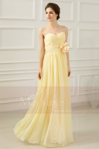 Strapless Long Yellow Dress With Flower On The Waist - L665 #1