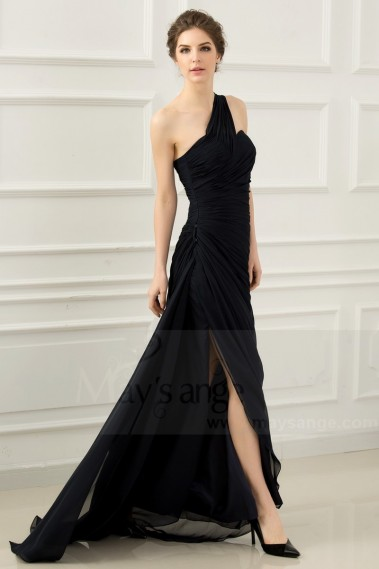 Evening Dress with straps - One Shoulder Long Black Blue Prom Dress With Slit - L531 #1