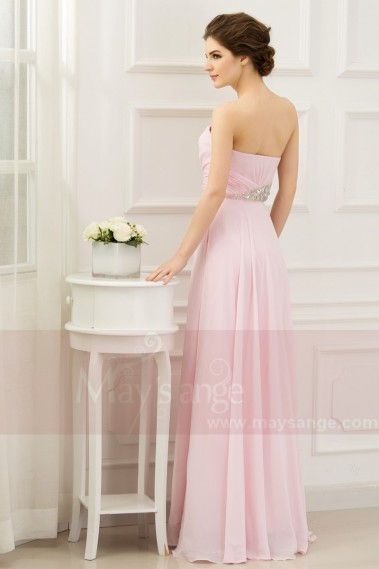 Pink evening dress - Pink Long Prom Dress With Rhinestones - L268 #1