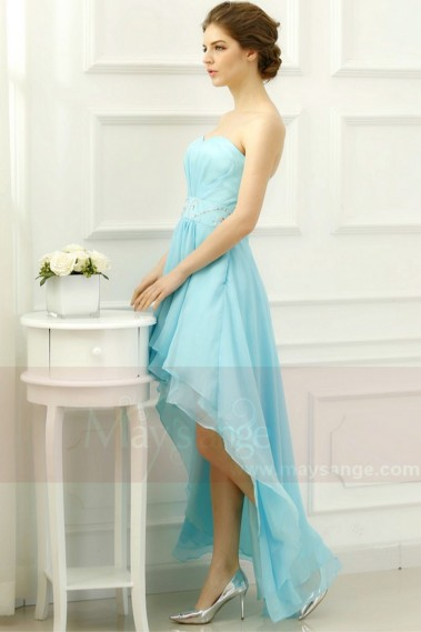 Fluid cocktail dress - Turquoise High-Low Strapless Homecoming Dress - C203 #1