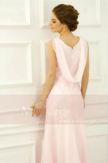 robes soirée long rose dos original - L761 #1