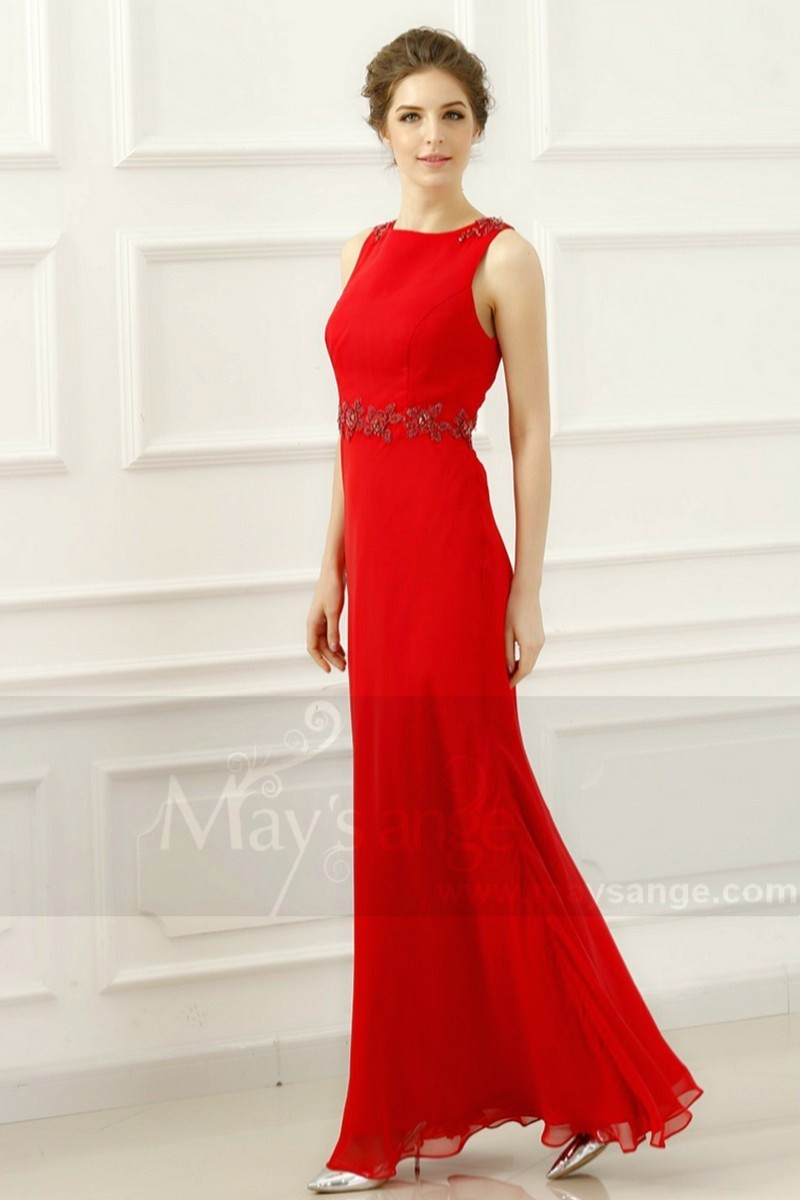 LONG RED WEDDING GUEST DRESS SLEEVELESS WITH EMBROIDERED - Ref L755 - 01