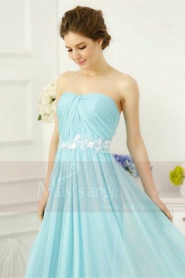 TURQUOISE LONG EVENING DRESS STRAPLESS - L756 #1