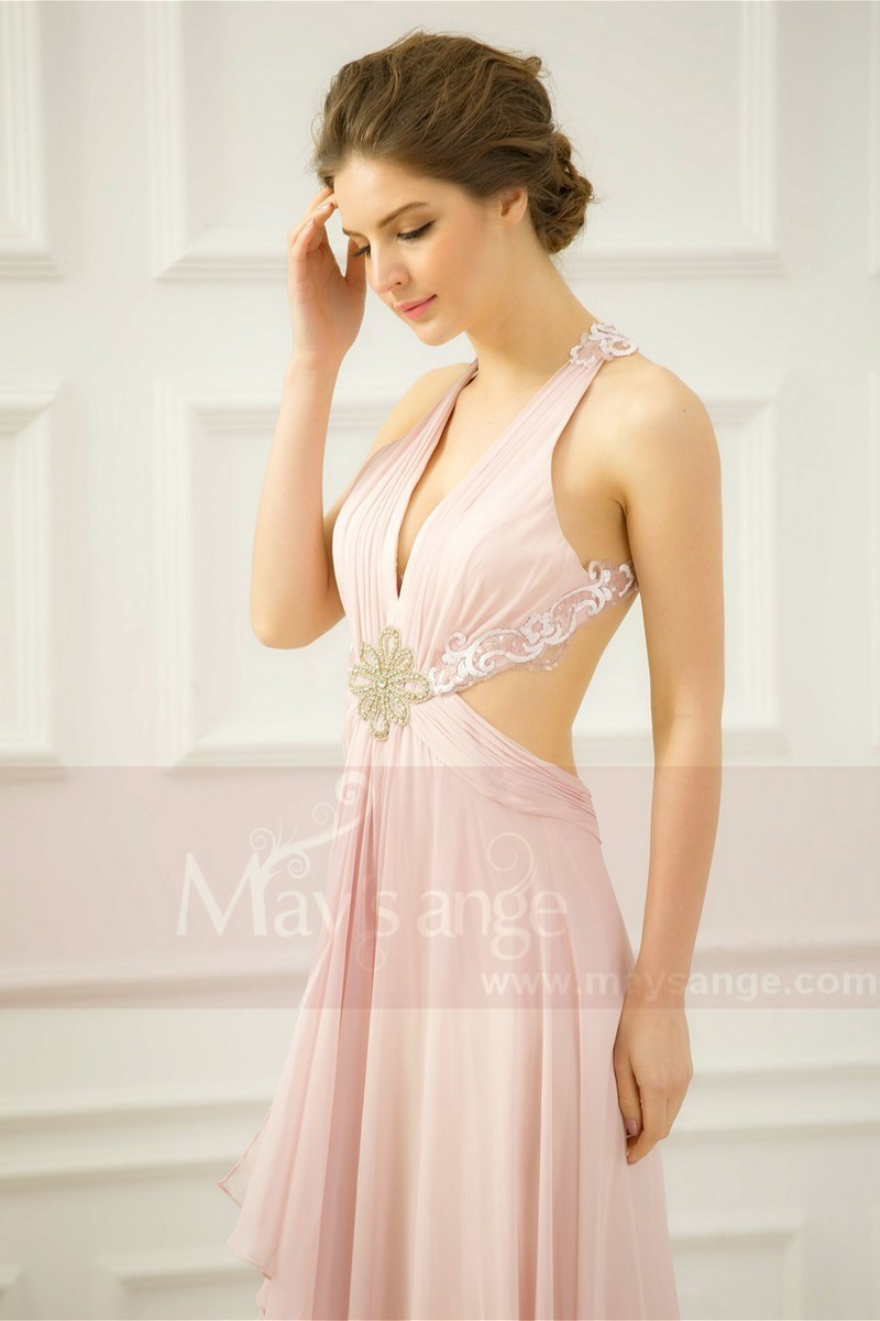 Open Back Sexy Powder Pink Evening Dresses With Slit - Ref L758 - 01