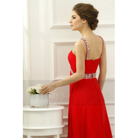 Robe cocktail longue rouge coquelicot maysange - Ref L530 - 02