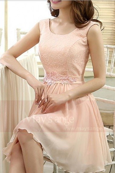 robe de cocktail courte rose - C818 #1