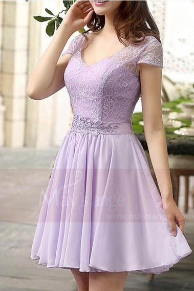 Robe de cocktail aux manches courtes - robe de cocktail lilas - C819 #1