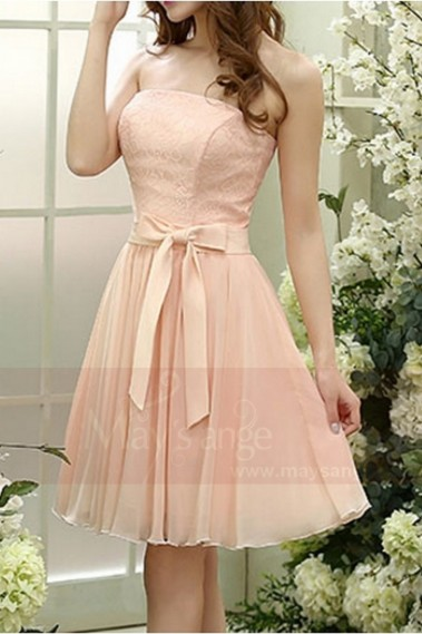 Fluid cocktail dress - Short Strapless Pink Prom Dress - C820 #1