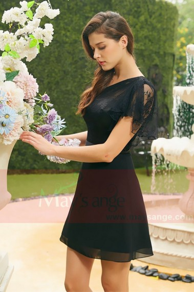 Long cocktail dress - Black  Cocktail dress chic a lace pretty cuff A vosge - C822 #1