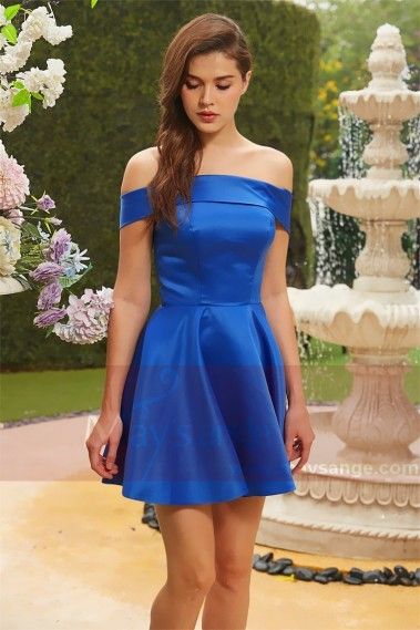 Blue cocktail dress - robe de cocktail bleu electrique col bateau Satine - C823 #1