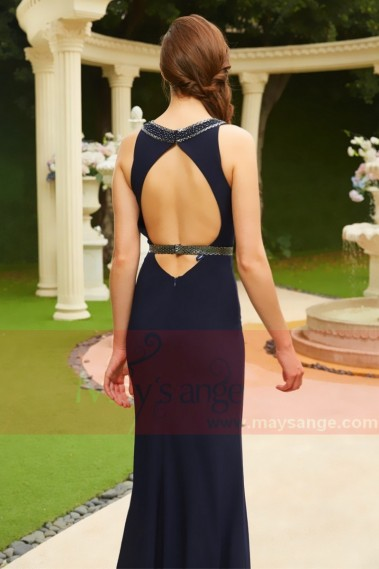 Open Back Sexy Long Evening Blue Dress With Slit