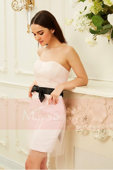 Short cocktail dress - robe bustier rose ceinture noire et noeud de papillon  Peach Blossom - C832 #1