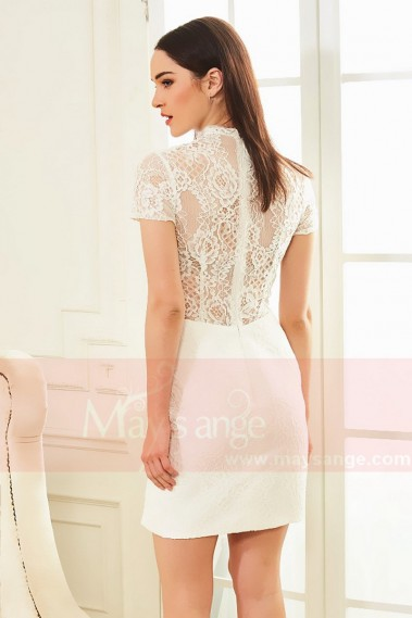 Robe de cocktail blanche - robe cocktail blanc col montant en dentelle Daisy - C833 #1
