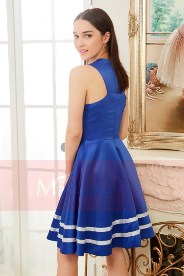 Short White And Royal Blue Cocktail Dress Satin - C834 #1
