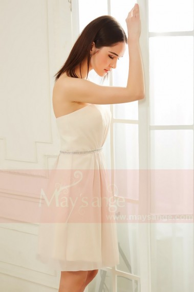 Straight cocktail dress - robe de cocktail bustier beige champagne avec une ceinture fine  Primrose - C838 #1