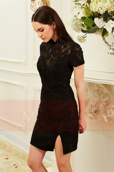 Short cocktail dress - robe de cocktail noire en dentelle  col montant  belle  coupe ajuste - C841 #1