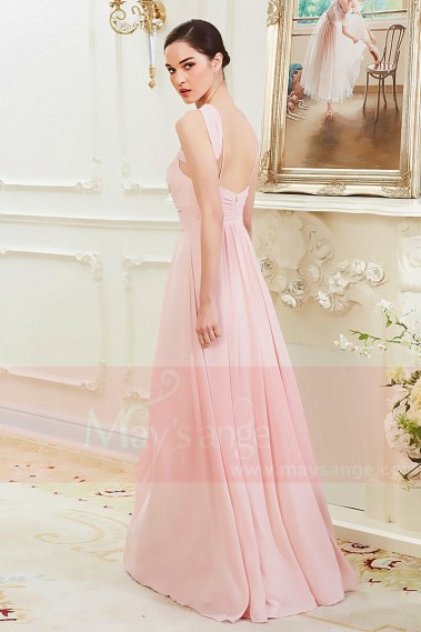 Pink evening dress - Long Pink Sexy Cocktail Dress With Crossed Straps - L790 #1