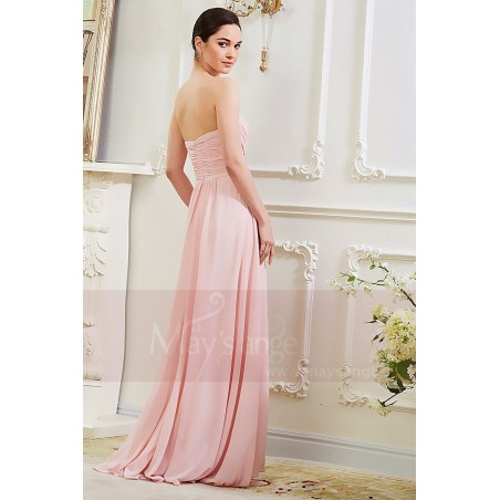 Robe Longue en Mousseline Fine Rose Pale - Ref L792 - 03