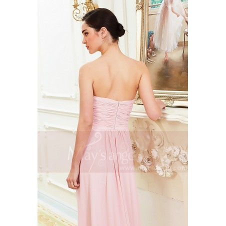 Robe Longue en Mousseline Fine Rose Pale - Ref L792 - 04