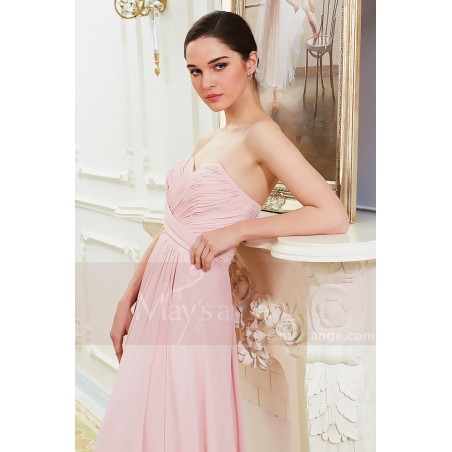 Robe Longue en Mousseline Fine Rose Pale - Ref L792 - 06