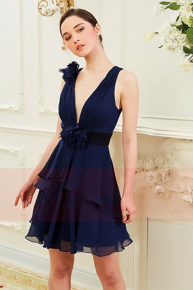 Long cocktail dress - Sexy Evening Dress in Chiffon Blue Night  Floral - C850 #1