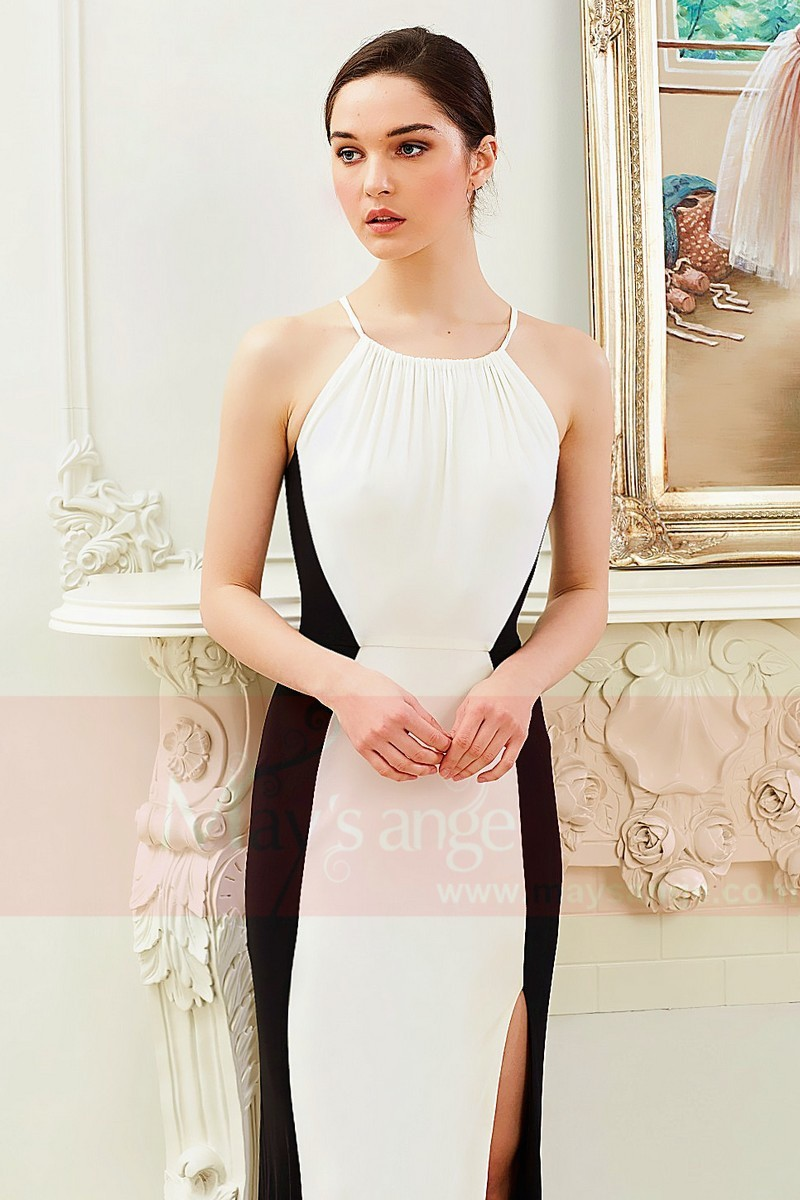 Chic Black And White Chiffon Formal Dress With Slit - Ref L796 - 01