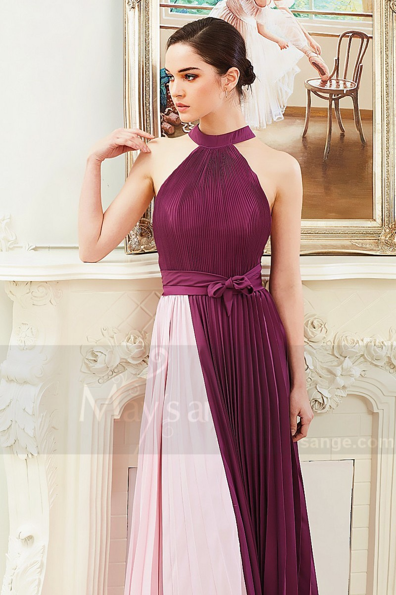 Two-Tone Halter Formal Evening Gown With Pleated Skirt - Ref L797 - 01