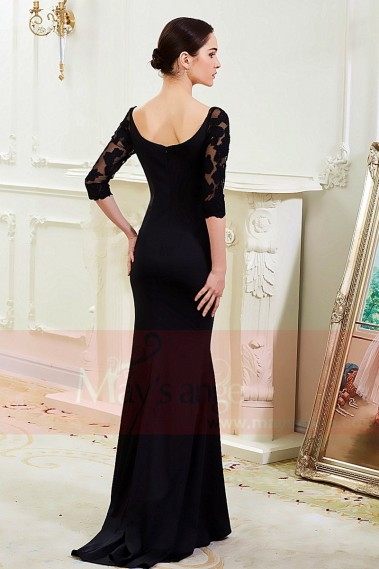 Long black dress with lace sleeves maysnage boat neck - L799 #1