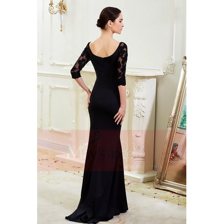 Long Black Dress With Lace Sleeves Maysnage Boat Neck