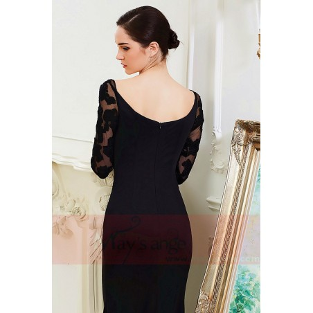 830f97f9ad ... Long black dress with lace sleeves maysnage boat neck - Ref L799 - 04  ...