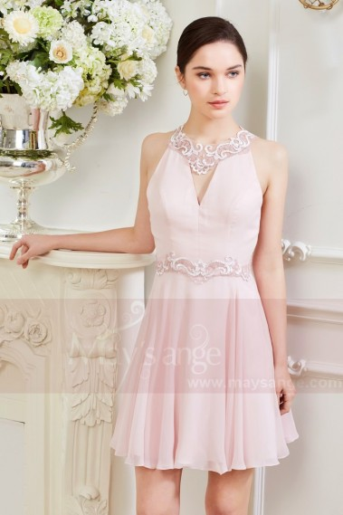 Robe de cocktail fluide - Robe Courte Rose Pale aux Sublimes Lignes de Dentelles - C847 #1