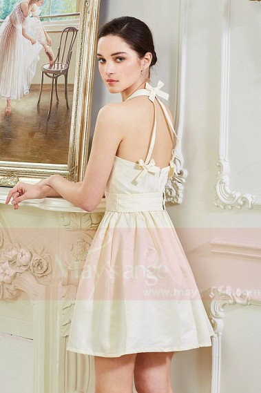 Short cocktail dress - Robe Courte Sublime Champagne Satinee - C848 #1