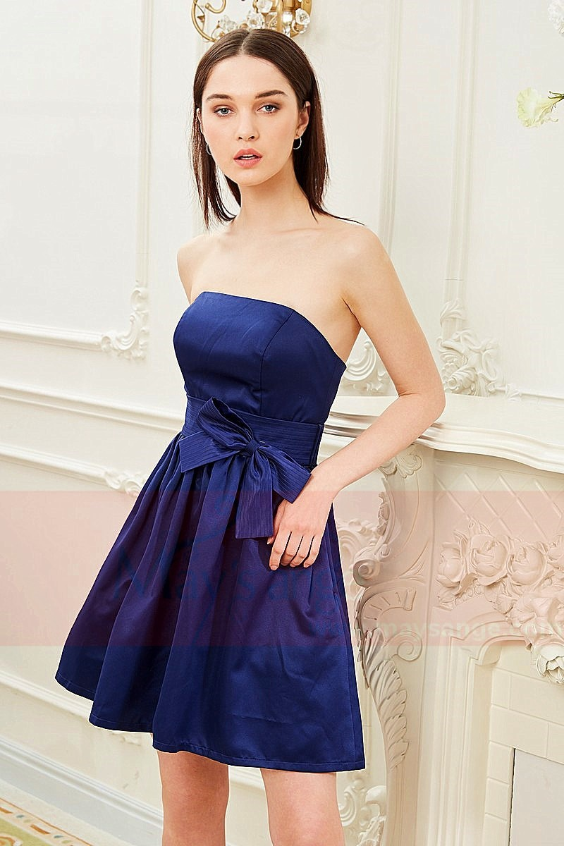Strapless blue dress with a nice bow tie C843 - Ref C843 - 01