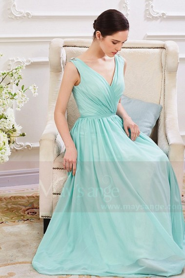 Sexy Evening Dress - Robe de Soiree Longue en Mousseline fine Bleu Cyan - L789 #1