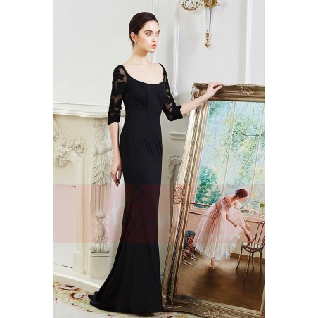95e11bf331 ... Long black dress with lace sleeves maysnage boat neck - Ref L799 - 03  ...