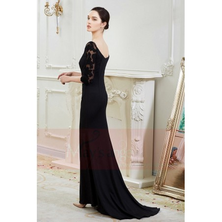 1923a8fc9f ... Long black dress with lace sleeves maysnage boat neck - Ref L799 - 05